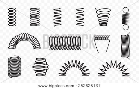 Spiral Springs Different Shapes And Types Vector Icons Of Swirl Line Or Curved Wire Cords, Shock Abs