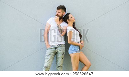 Couple Stylish Young Modern People. Couple In Love Hang Out Together Grey Wall Background. Couple Wh