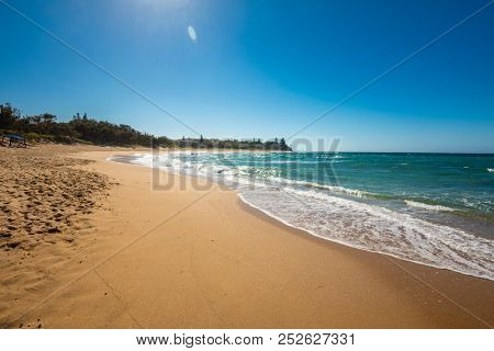 Sunny view of Shelly Beach at Caloundra, Sunshine Coast, Queensland, Australia