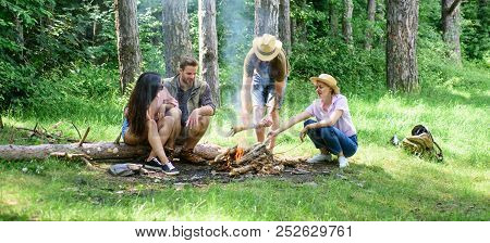 Hike Barbecue. Friends Enjoy Weekend Barbecue In Forest. Company Friends Picnic Or Barbecue Roasting