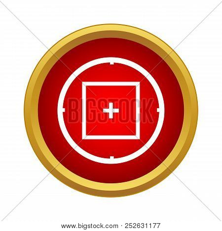 Sniper target scope or sight icon in simple style on a white background poster