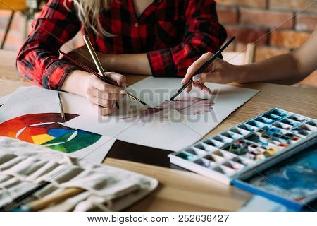 Art School Classes. Painting Courses. Student And Teacher Drawing Together. Technique Mastering And