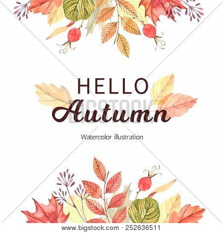 Hand Drawn Watercolor Illustration. Wreath With Fall Leaves, Acorns And Berries. Forest Design Eleme
