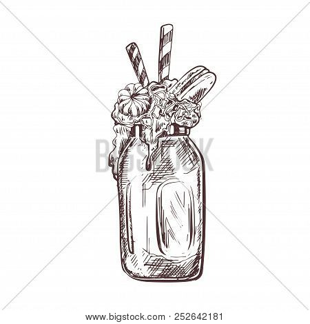 Vector Hand Drawn Milkshake Illustration Decorated With Chocolate And Caramel. Sketch Vintage Style.