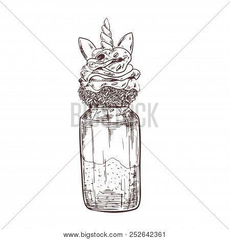 Vector Hand Drawn Milkshake Illustration Decorated With Unicorn Elements. Sketch Vintage Engraving S
