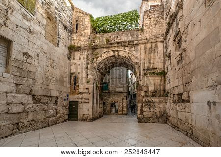 Split, Croatia - September 29 2017: The Ancient Golden Gate To The Diocletians Palace Section Of Old
