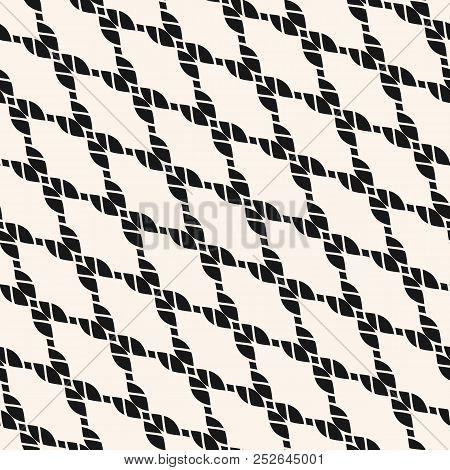 Vector Diagonal Mesh Seamless Pattern. Black And White Nautical Texture With Fishnet, Ropes, Knittin