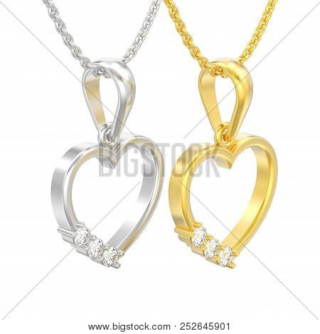 3d Illustration Isolated Two Jewelry Yellow And White Gold Or Silver Diamond Heart Necklaces On Chai