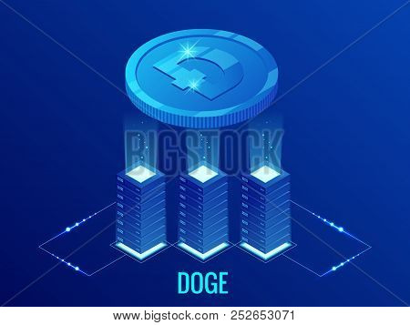 Isometric Dogecoin Doge Cryptocurrency Mining Farm. Blockchain Technology, Cryptocurrency And A Digi