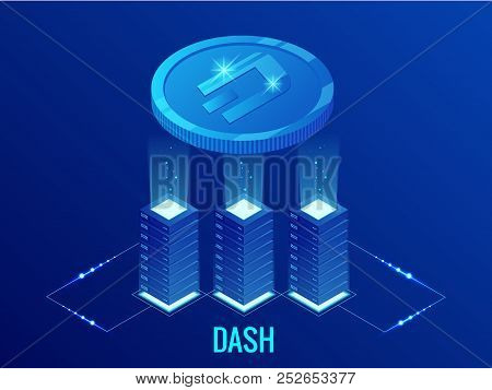 Isometric Dash Cryptocurrency Mining Farm. Blockchain Technology, Cryptocurrency And A Digital Payme