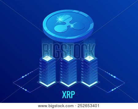 Isometric Ripple Coin Xrp Cryptocurrency Mining Farm. Blockchain Technology, Cryptocurrency And A Di