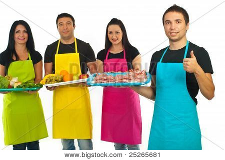 Successful Butcher And His Team