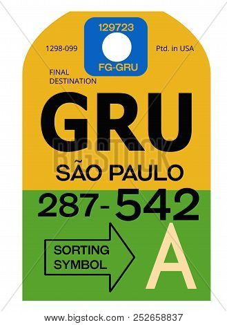 Sao Paulo Realistically Looking Airport Luggage Tag Illustration