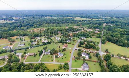A Typical American Country Subdivision Neighborhood Aerial