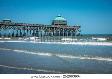 Folly Beach Pier In Charleston South Carolina