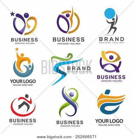 Simple Modern Abstract Fitness Logo Set, Abstract Active Sport Logo,elegant Abstract Active People L