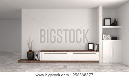 White Wood Modern Cabinet In Empty Room Interior Background Home Designs 3d Illustration ,shelves An