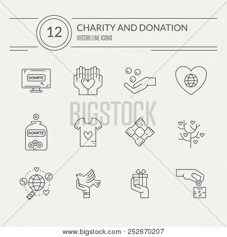 Charity And Donation Icons Made In Modern Line Style. Helping Hand Vector Illustration. Vector Symbo