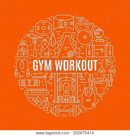 Sport And Fitness Design Element - Different Gym Elements Arranged In A Circle With Sign Gym Workout