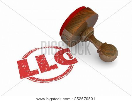LLC Limited Liability Corporation Business Word Stamp 3d Illustration