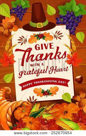 Thanksgiving Day Autumn Holiday Greeting Card Design. November Harvest Celebration Poster On Wooden