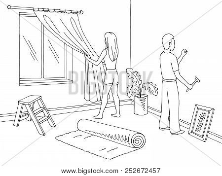 Renovation Room Home Interior Graphic Black White Sketch Illustration Vector. Man Is Hammering A Nai