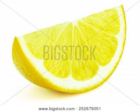 Perfectly retouched lemon fruit slice isolated on the white background with clipping path. One of the best isolated lemons slices that you have seen. poster