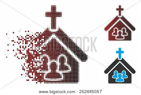 Vector Church People Icon In Dispersed, Pixelated Halftone And Undamaged Solid Variants. Disappearin