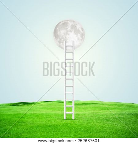 Illustration. Conceptual Image With Ladder Leading To White Moon Over Blue Background. Elements Of T
