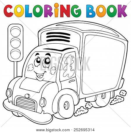 Coloring Book Cute Delivery Car - Eps10 Vector Picture Illustration.