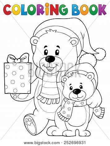 Coloring Book Christmas Bears Theme 1 - Eps10 Vector Picture Illustration.