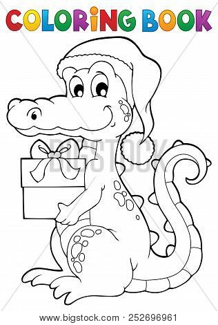 Coloring Book Christmas Crocodile - Eps10 Vector Picture Illustration.