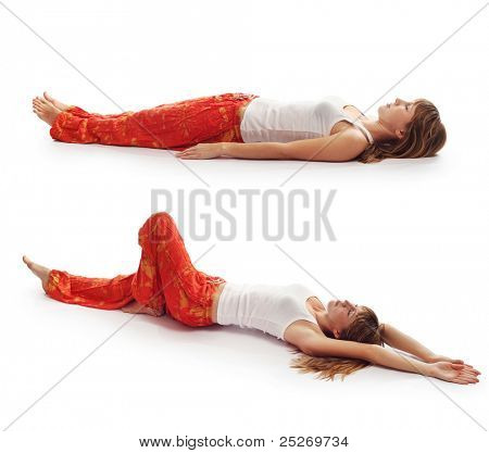 Young woman in red pants doing yoga exercises isolated on a white