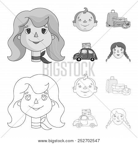 Camping, Woman, Boy, Bag .family Holiday Set Collection Icons In Outline, Monochrome Style Vector Sy