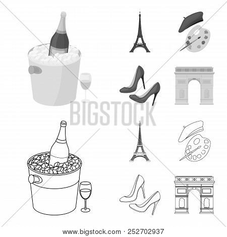 Eiffel Tower, Brush, Hat .france Country Set Collection Icons In Outline, Monochrome Style Vector Sy