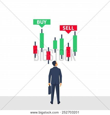 Forex Trading Concept. Indicators Buy And Sell. Businessman Is Studying The Sales Table, Financial C