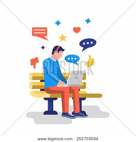 Social Networks Concept. Young Modern Man Working On Laptop Sitting In Park On Bench. Chatting And S