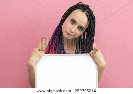 Young Sexy Woman Standing Hold Blank Board, Cover Her Breast, Attractive Naked Girl Hide Empty Board