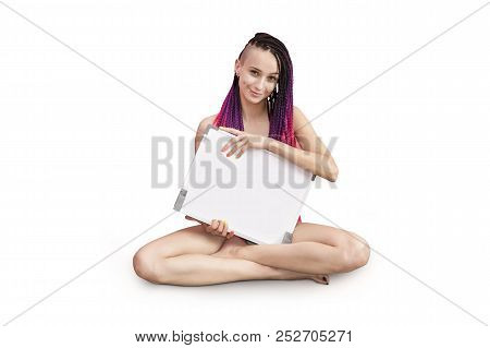 Your Text Here. Pretty Young Excited Woman Holding Empty Blank Board. Portrait Isolated On White Bac