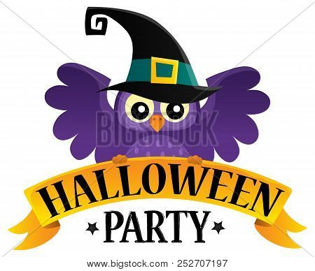 Halloween Party Sign Theme Image 2 - Eps10 Vector Picture Illustration.