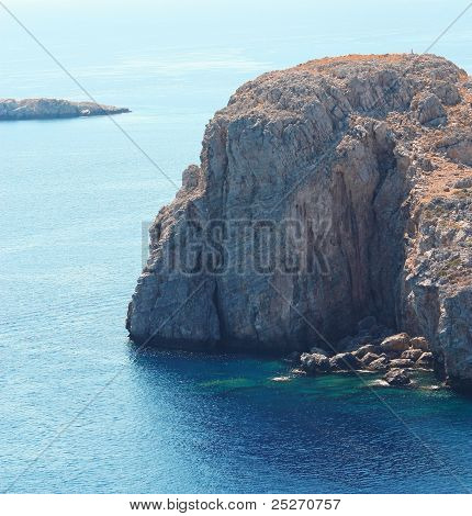 View From Acropolis Of Lindos: Mountain At The Sea (rhodes Island, Greece)