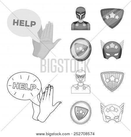 Man, Mask, Cloak, And Other Web Icon In Outline, Monochrome Style.costume, Superman, Superforce, Ico