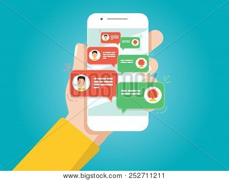 Hand Holding Smartphone. Man Chatting With Chat Bot.