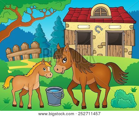 Horse Topic Image 6 - Eps10 Vector Picture Illustration.