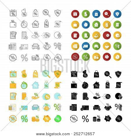 Percents Icons Set. Discount Offers, Real Estate Mortgages, Banking, Saving Money. Linear, Flat Desi