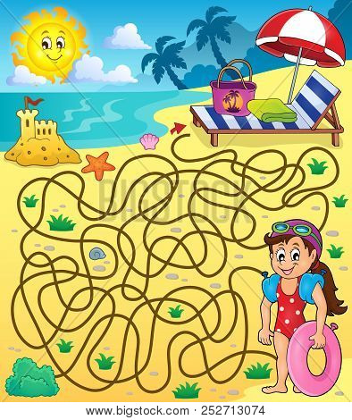 Maze 28 With Beach Theme 1 - Eps10 Vector Picture Illustration.