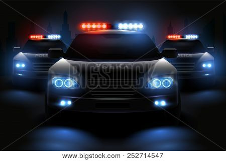 Car Led Lights Realistic Composition With Images Of Police Patrol Wagons With Dimmed Headlights And