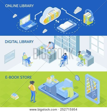 Online Digital Library En E-book Store 3 Horizontal Isometric Banners With Cloud Download Symbol Vec