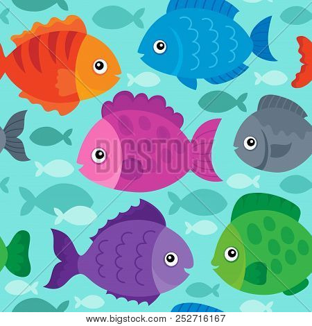 Seamless Background Stylized Fishes 1 - Eps10 Vector Picture Illustration.