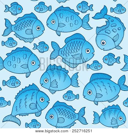 Seamless Background With Fish Drawings 1 - Eps10 Vector Picture Illustration.